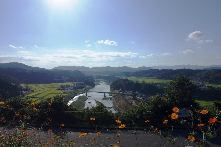 大野川と豊後大野の平野の眺め