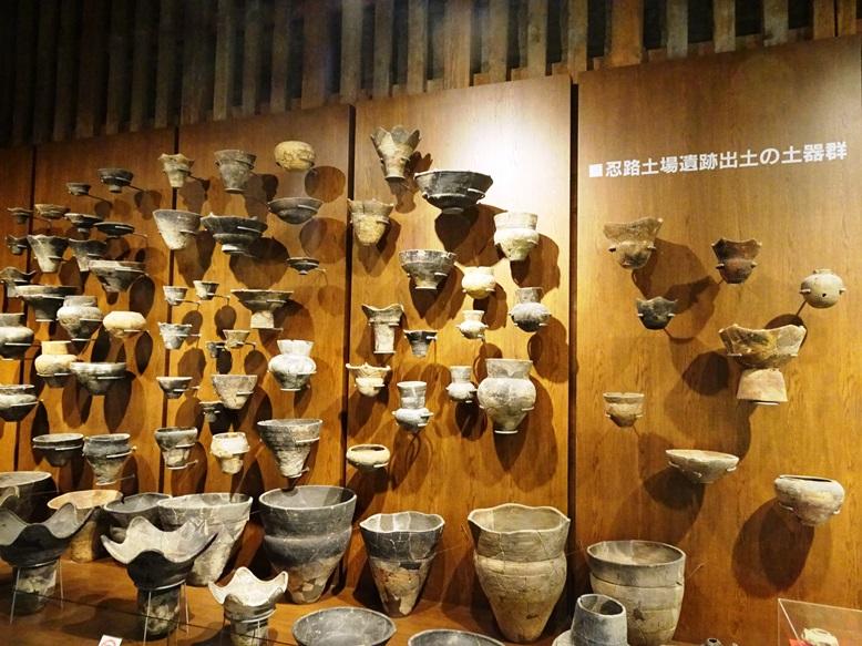忍路土場遺跡の出土品展示