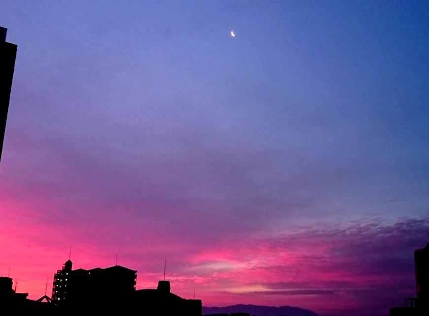 夜明け 朝日 空を飛ぶ